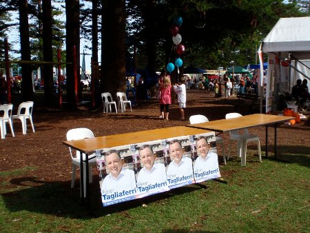 Less than an hour after the parade whilst the Greens' stall was still bustling, Tag's stall was deserted.
