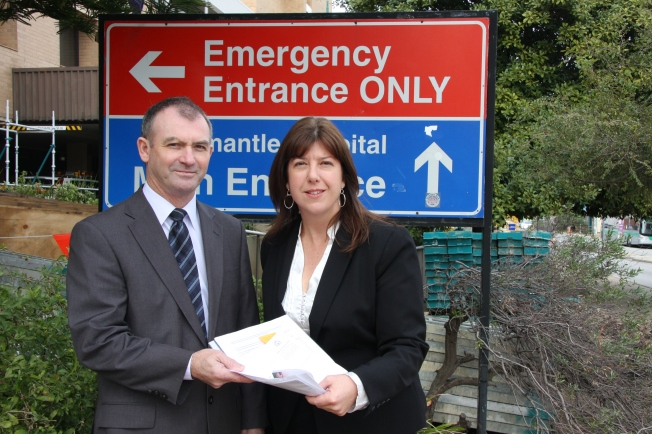 Health Minister, Hon Kim Hames, meets Adele Carles at Fremantle Emergency Department